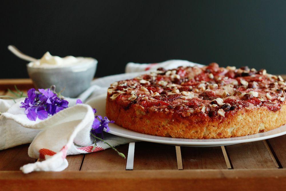 Roasted Strawberry and Hazelnut Cake