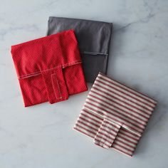 Sandwich Wrap Trio, Red & Gray (Set of 3)