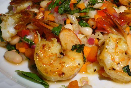 Pan-Seared Lemon-Basil Shrimp with White Bean Salad