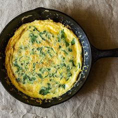 Frittata with Spring Greens, Parmesan and Pancetta