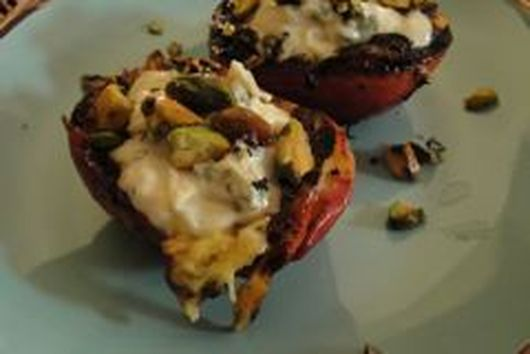 Grilled  Peaches with Lemon Thyme Mascarpone and Pistachios