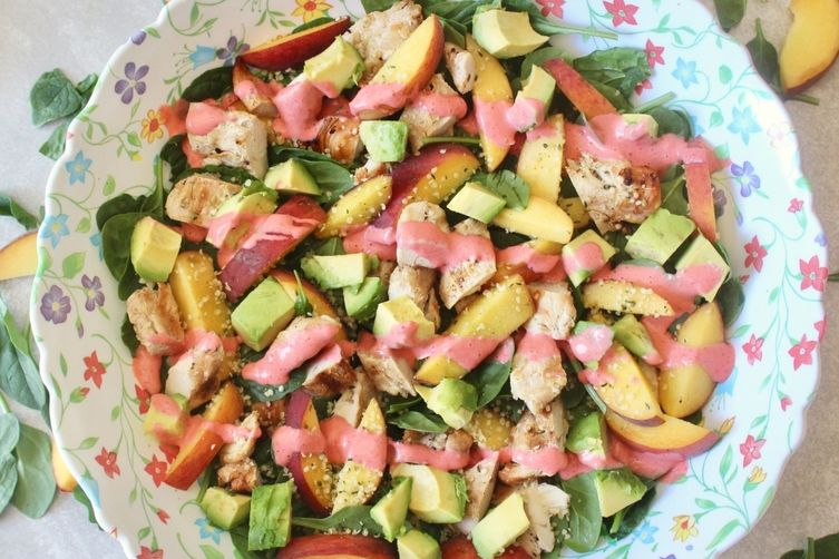 Summer Chicken & Peach Salad with Strawberry-Lime Salad