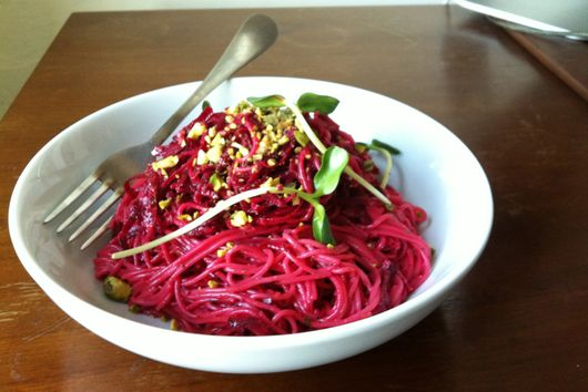 Beet Capellini with Pistachios