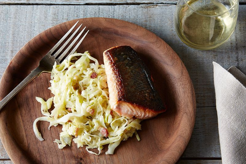 Cream Braised Cabbage With Leeks Recipe — Dishmaps