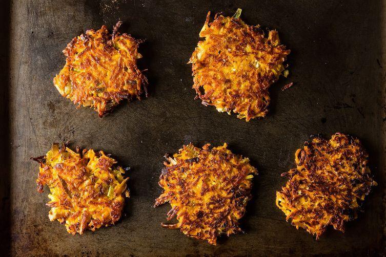 Sweet Potato Parsnip Latkes with Feta and Leeks from Food52