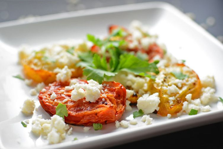 Oven Roasted Plum Tomatoes with Queso Fresco