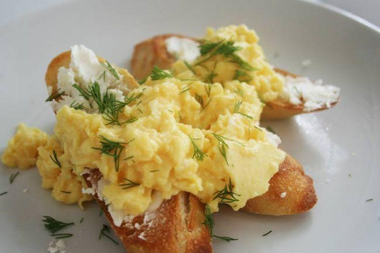Crostini with Soft Scrambled Eggs and Chevre