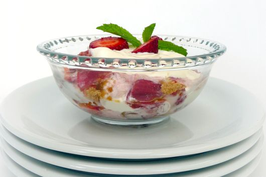 Rhubarb Trifle with Almond Macaroons and Vanilla Cream