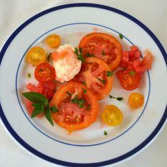 Heirloom tomato salad with fresh mozzarella, watermelon and mint