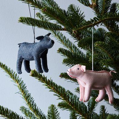 Hand-Stitched Wool Piglet Ornament
