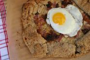 Ham, Gruyère, and Caramelized Onion Galette with a Fried Egg