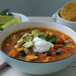 Spicy Black Bean & Sweet Potato Soup