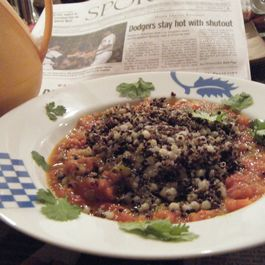 The Red and the Black: The Sequel. Black Quinoa, Pearl Couscous ,Tomato Coulis
