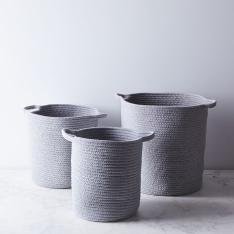 Sturdy Woven Cotton Baskets (Set of 3)