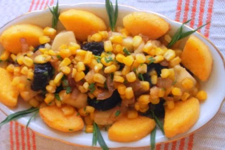 Corn With Prunes, Apples and Polenta Croutons Side Dish Or Stuffing
