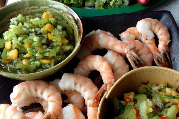 Celery Salsa 2 4 1: Spicy Pineapple & Mild Papaya with Steamed Shrimp or Tofu