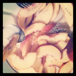 Fresh nectarines marinated in lavender infused coconut milk