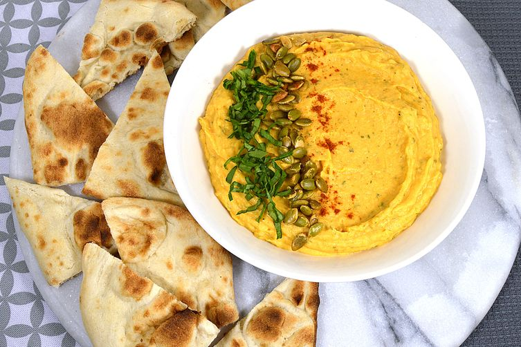 Savory Pumpkin Hummus with Toasted Naan Bread