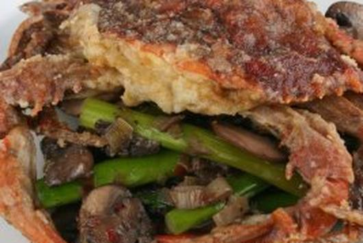 Crispy Soft Shell Crabs with Warm Mushroom-Asparagus Salad