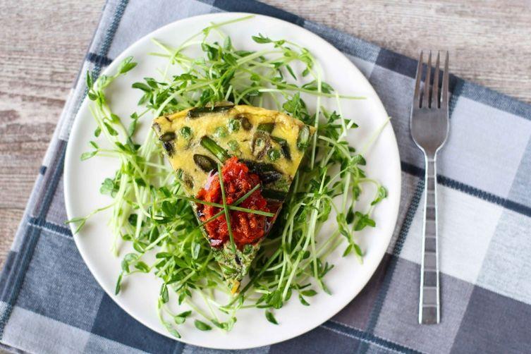 Spring Vegetable Frittata w/Pea Shoot Salad