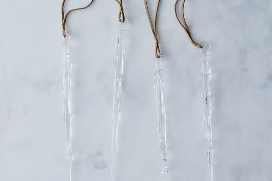 Glass Icicle Ornaments with Suede Loop (Set of 4)