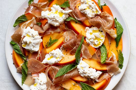 Sweet Fuyu Persimmon with Prosciutto, Burrata, and Mint from The Daley Plate