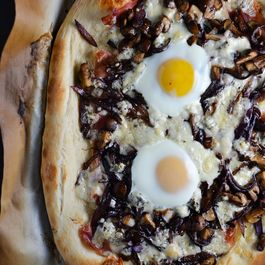 Caramelized Onion, Mushroom, And Gorgonzola Pizza With An Egg On Top