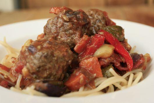 Roasted Vegetable Ragu with Venison Meatballs