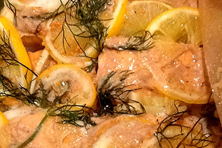 Lemon Dijon Salmon with Fennel and Onions en Papillote