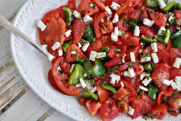 Heirloom Tomato Salad with Feta & Oregano Flowers