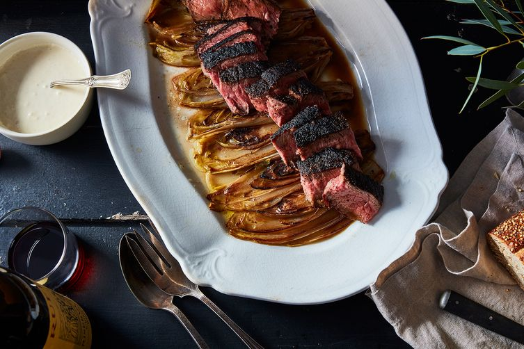 Steak with Braised Endive and Horseradish Cream
