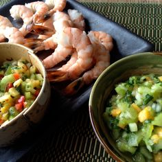 Celery Salsa 2 4 1: Spicy Pineapple & Mild Papaya on Steamed Shrimp or Tofu