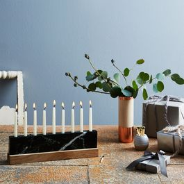 Vermont Green Marble & Walnut Menorah