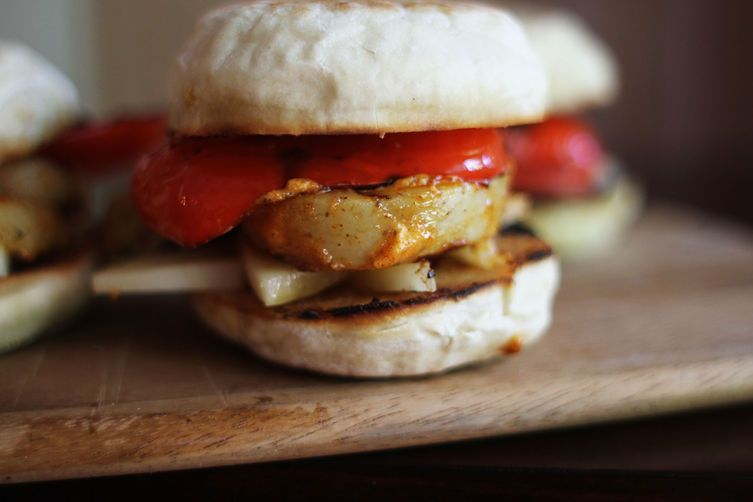 Manchego, Grilled Red Pepper + Potato Sandwich with Paprika Mayo, from Food52
