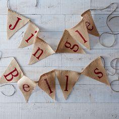 Jingle Bells Burlap Banner
