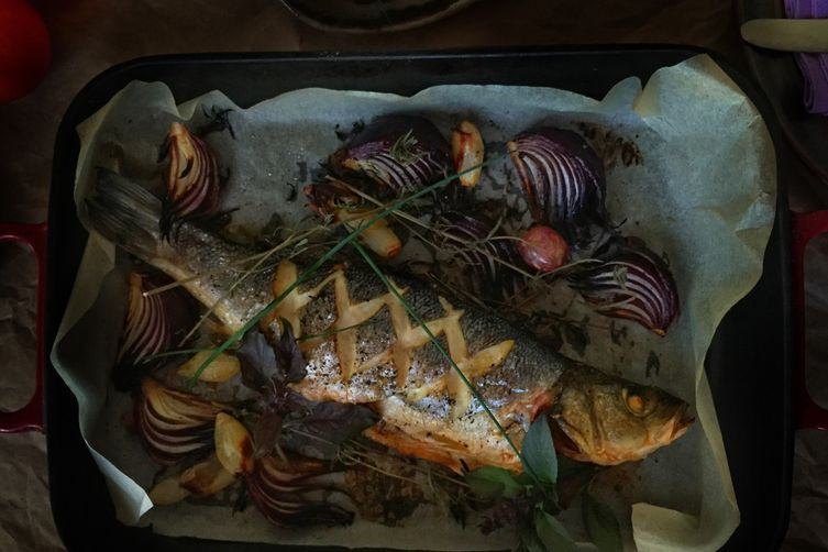 Roasted Seabass with Shallots & Red Onions