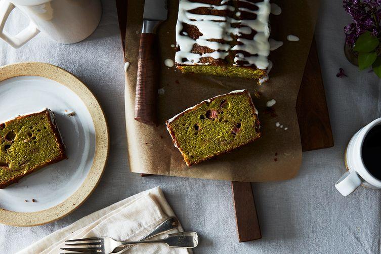 Matcha-Rhubarb Loaf Cake