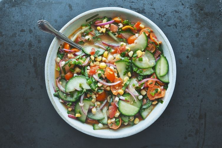 Tomato, Cucumber, Corn, and Herb Summer Salad