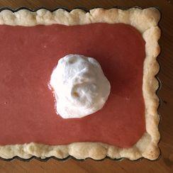 Rhubarb-Raspberry Curd Tart with Vanilla Shortbread Crust
