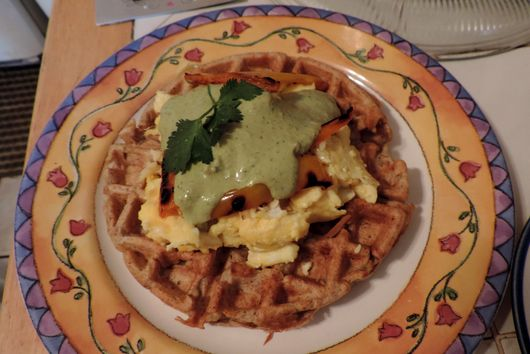 Whole Grain Savory Waffles w/ Spicy Queso Sauce & Eggs