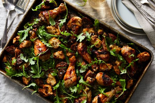 Sheet-Pan Chicken With Figs & Bread Salad