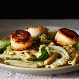 Vernal Greens Pasta with Seared Scallops