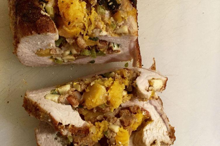 Pork Roast with Crispy Pancetta, Apple, Butternut Squash, and Sage Stuffing