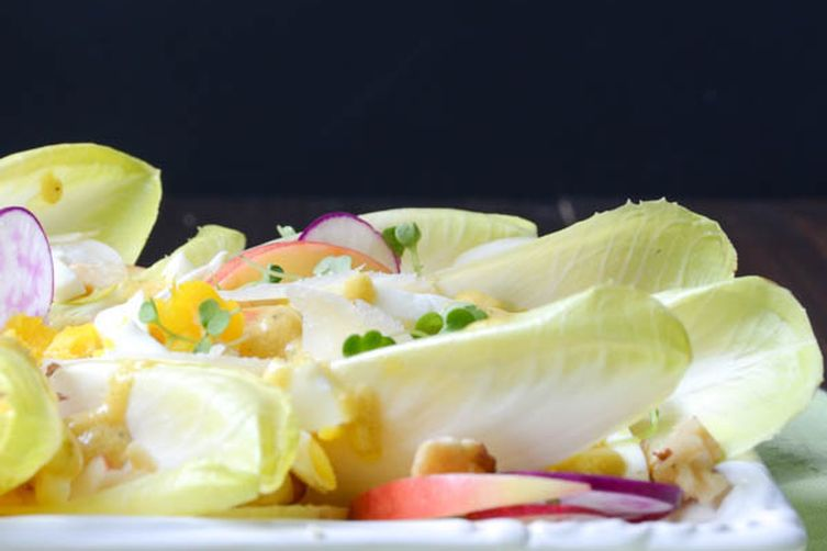 crunchy endive and walnut salad