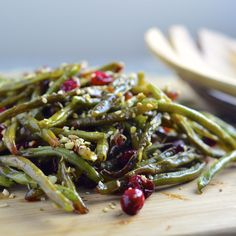 Roasted Green Beans With Fresh Cranberries & Dukkah