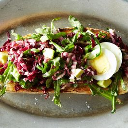 Bagna Cauda Toasts with Radicchio, Egg, and Avocado