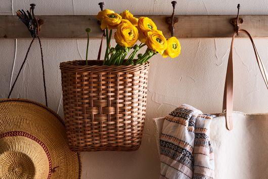 Hanging Rattan Book Basket