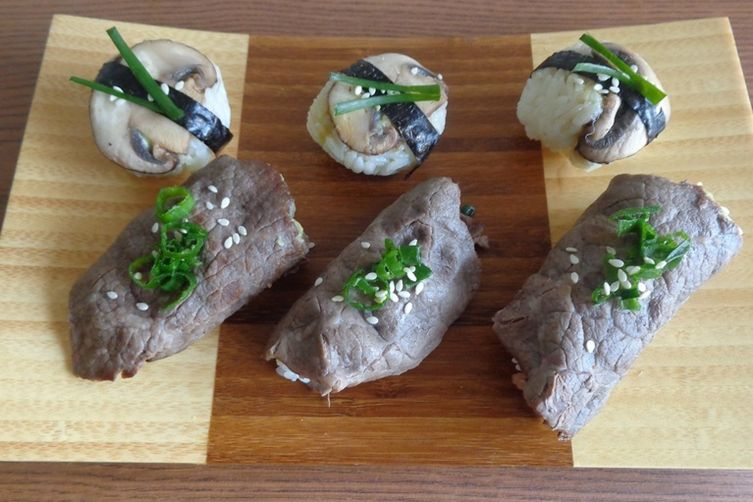Beef and Mushroom Sushi with Wasabi Miso
