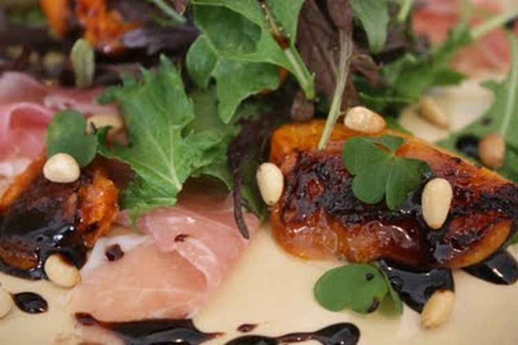 roasted apricots, proscuitto, balsamic vinegar & wood sorrel