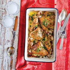 Mediterranean chicken and fennel bake with preserved lemon and harissa